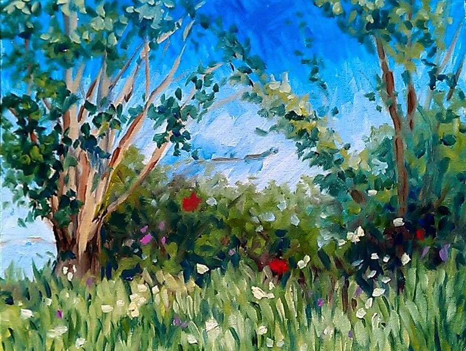 """""""Fine day by the river"""" original fine art by Hilary J. England"""