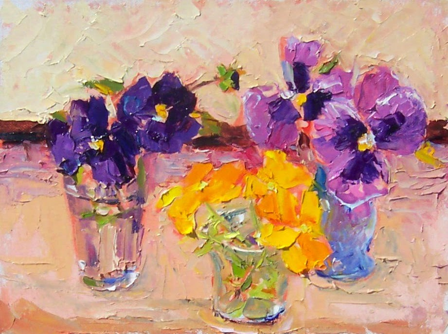 """Summer Pansies,still life, oil on canvas, 8x10price$300"" original fine art by Joy Olney"