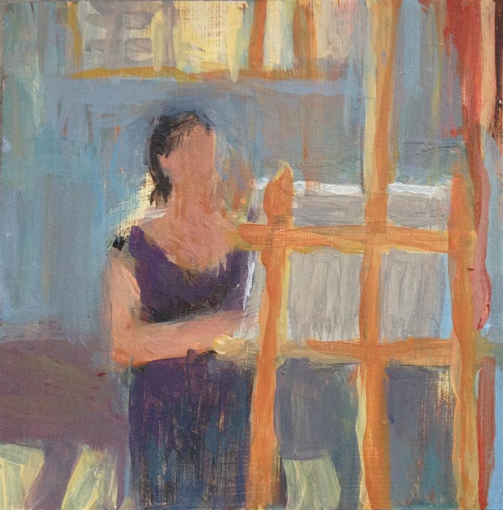 """Behind the easel"" original fine art by Christine Bayle"