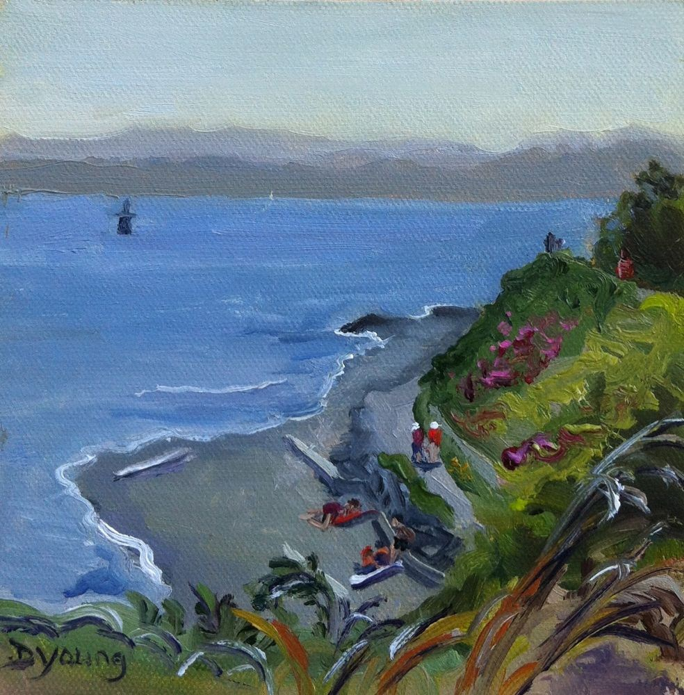 """Fonyo Beach Scene, oil on canvas board, 6x6"" original fine art by Darlene Young"