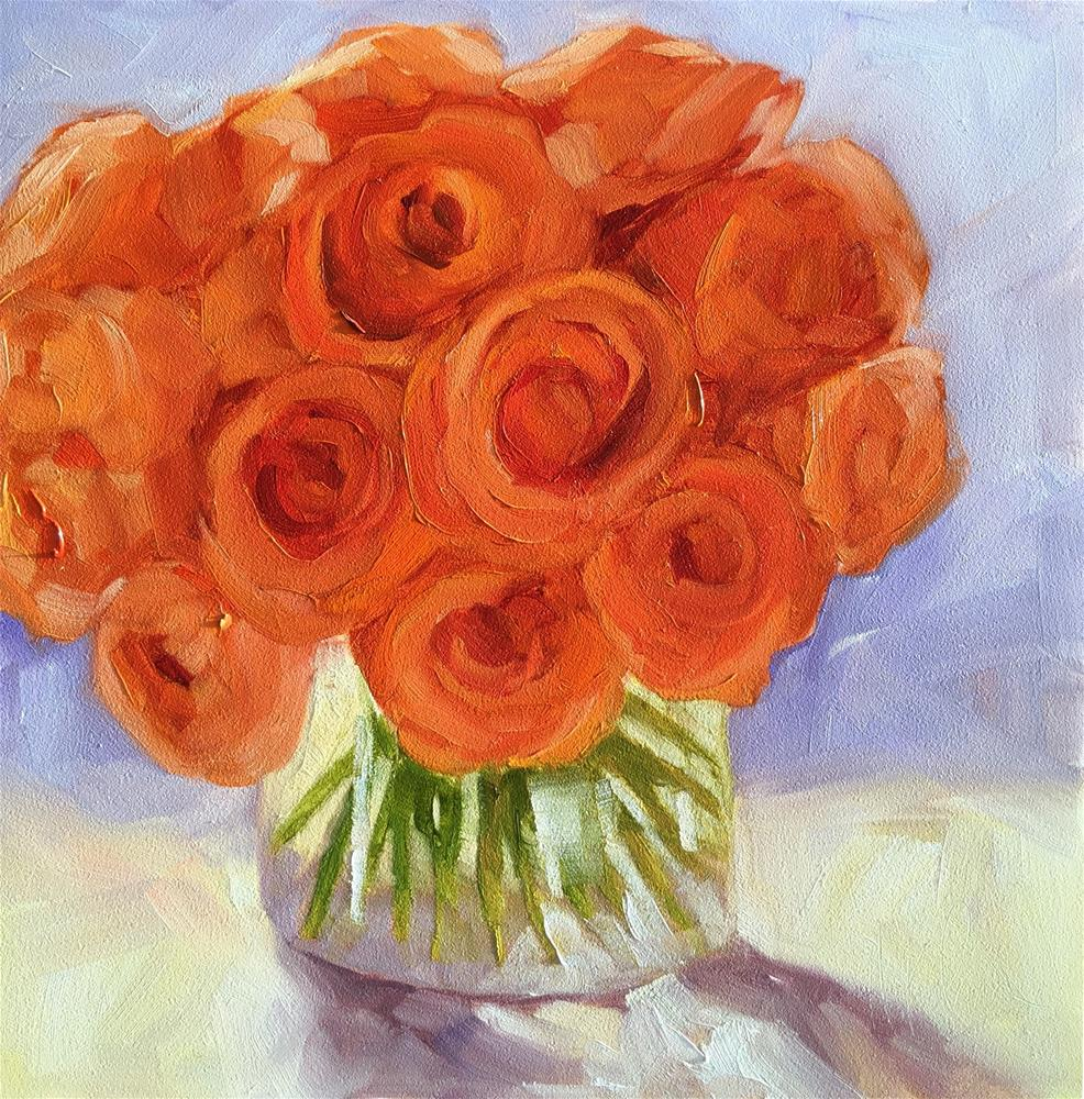"""Orange Roses"" original fine art by Hallie Kohn"