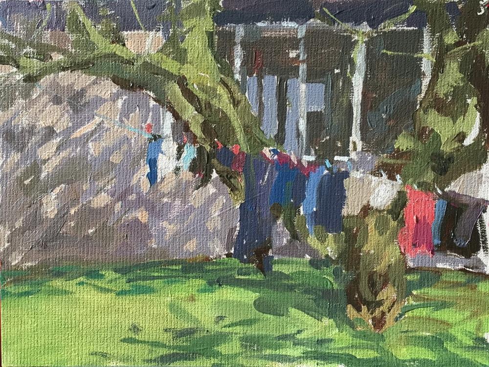 """Washing line"" original fine art by Haidee-Jo Summers ROI"