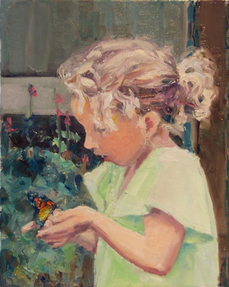 """Butterfly,figure,oil on canvas,10x8,price$300"" original fine art by Joy Olney"