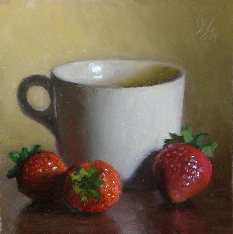 """Strawberries and Cup"" original fine art by Debra Becks Cooper"