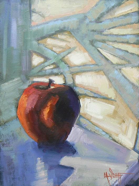 """Palm Shadows Fell Across the Apple"" original fine art by Carol Schiff"