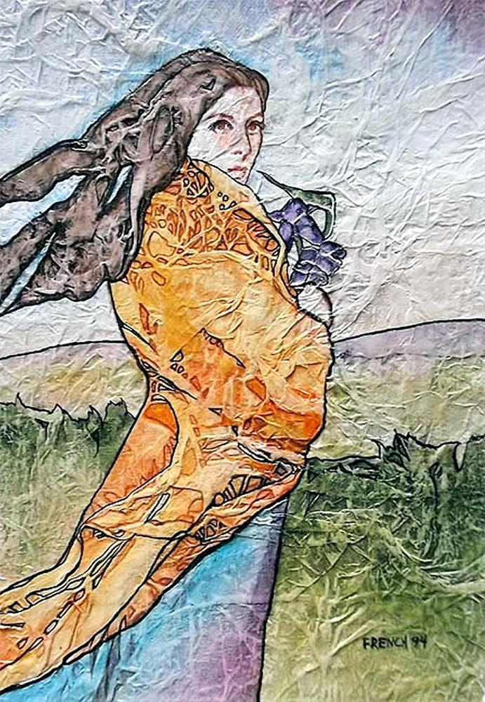 """Zen Inspired Spring Iris Watercolor on Tissue"" original fine art by lynne french"
