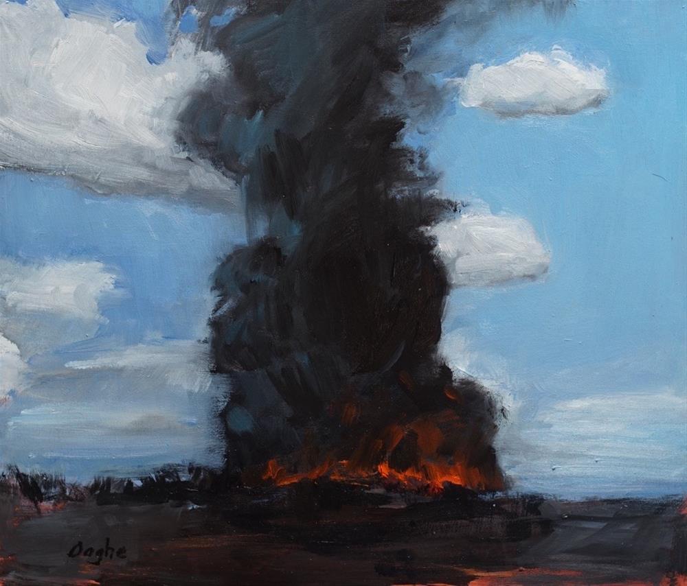 """""""Burning Sugar Cane Field"""" original fine art by Angela Ooghe"""