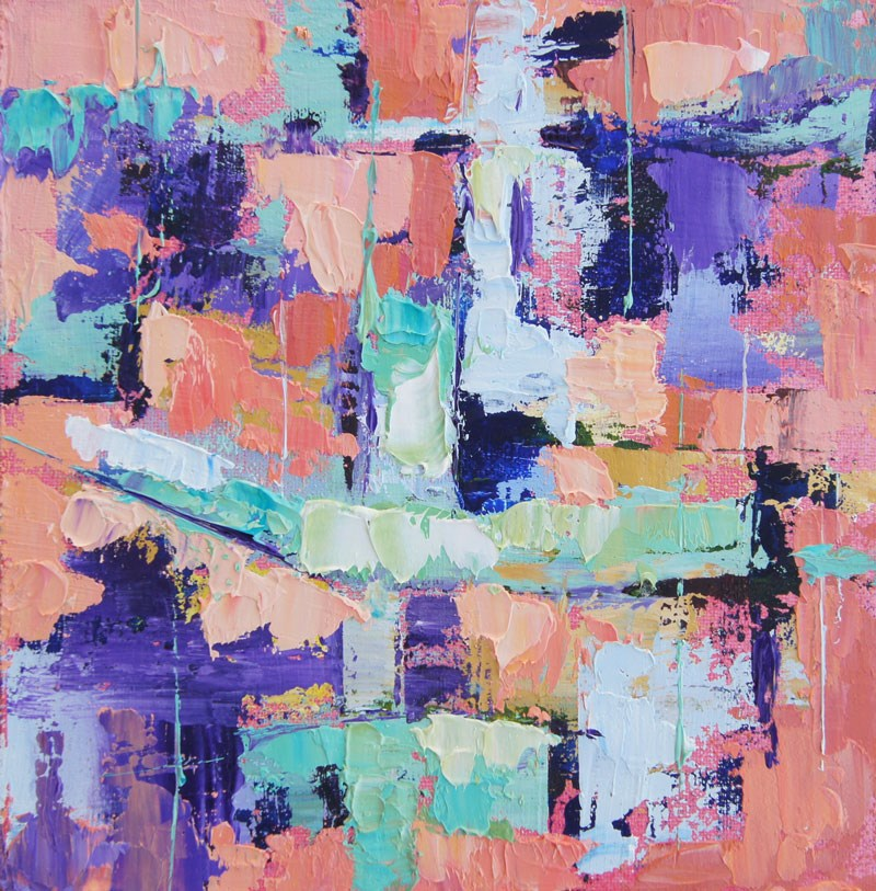 """Deconstructed Abstract in Pink and Purple"" original fine art by Marion Hedger"