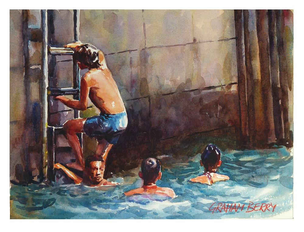"""Kids swimming."" original fine art by Graham Berry"