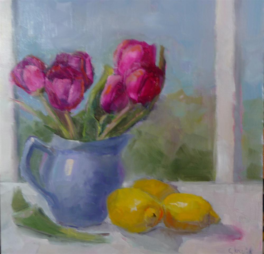 """Tulips in blue vase"" original fine art by Carol Josefiak"