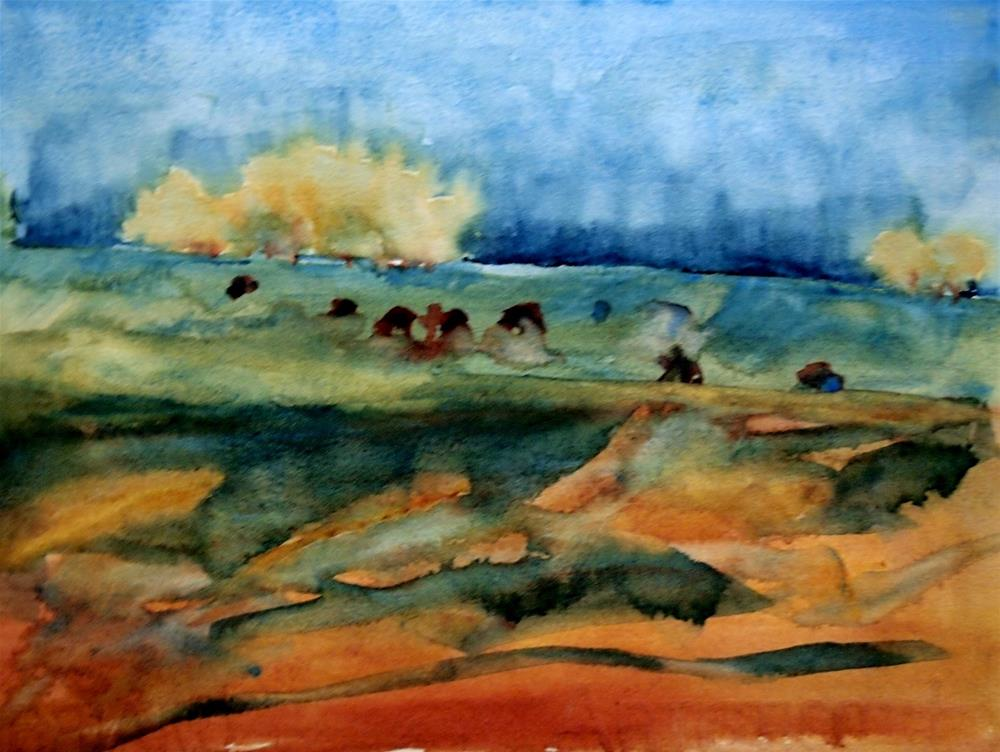 """Cows In Cornfield"" original fine art by Amy Bryce"