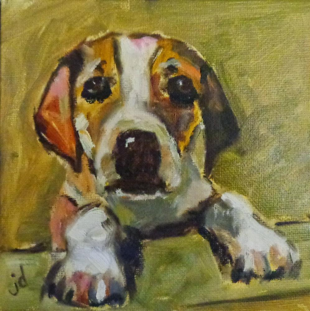 """Puppy love"" original fine art by Jean Delaney"
