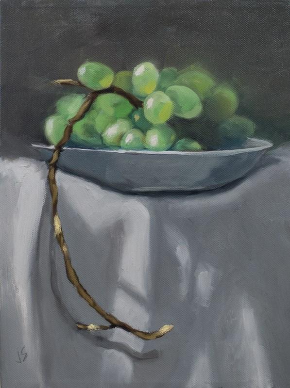 """Grapes on a Pedestal (12 x 9)"" original fine art by Johnna Schelling"
