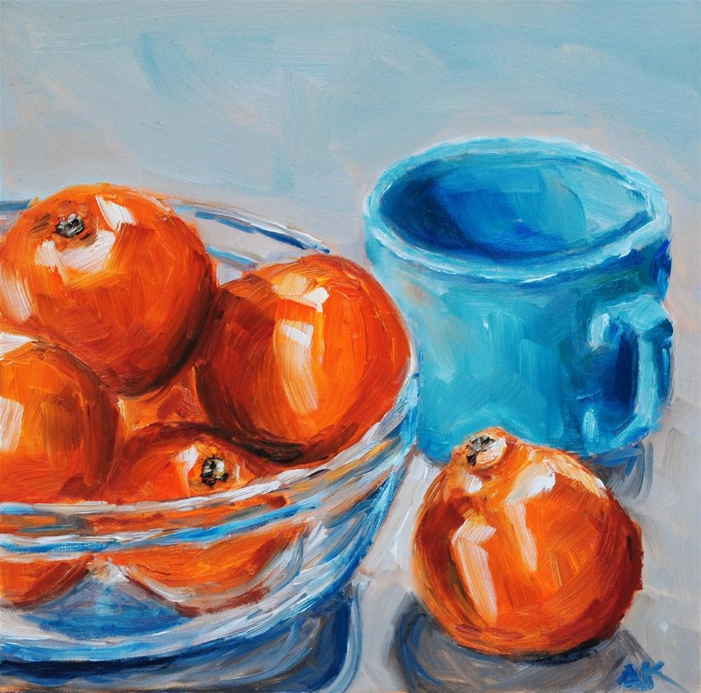 """Clementines with Blue Mug"" original fine art by Alison Kolkebeck"