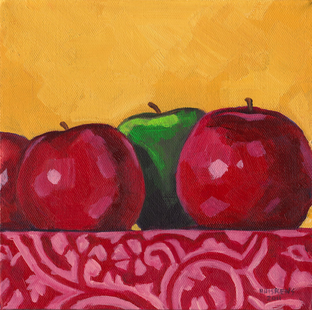 """""""Green And Red Apples No. 6"""" original fine art by Randal Huiskens"""