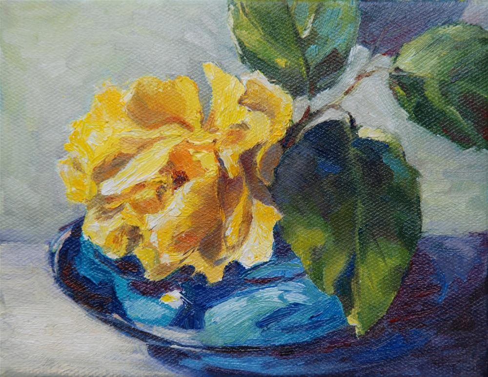 """Yellow rose"" original fine art by Olga Touboltseva-Lefort"