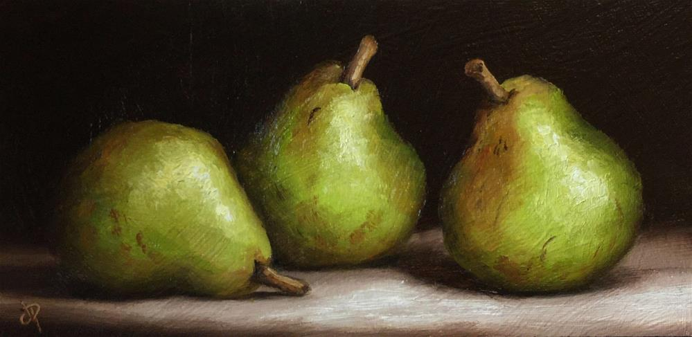 """Three comice Pears"" original fine art by Jane Palmer"