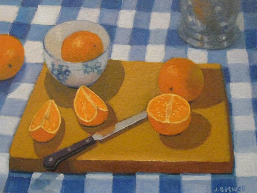 """Oranges on Cutting Board"" original fine art by Jennifer Boswell"