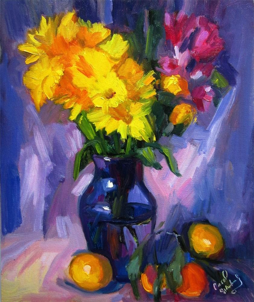 """""""Yellow Daisie, Blue Vase"""" original fine art by Carol Steinberg"""