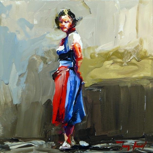"""waitress"" original fine art by Jurij Frey"