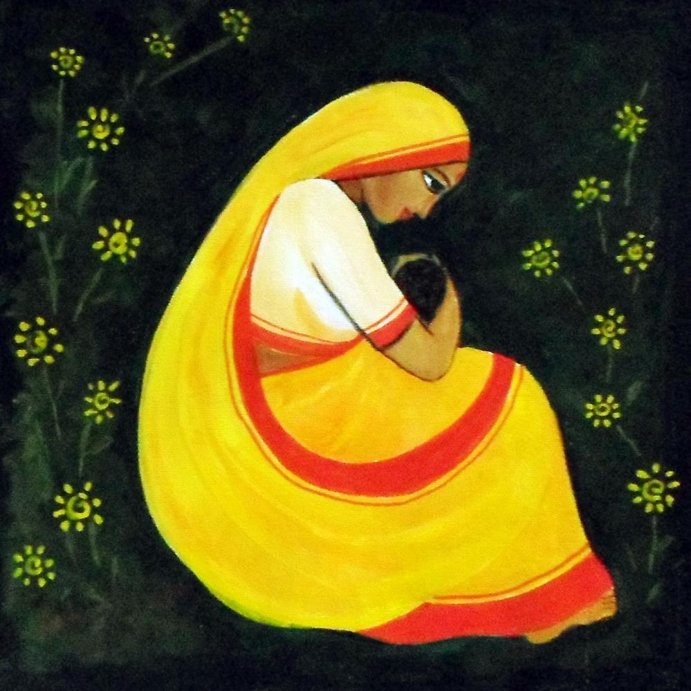 """Mother and Child"" original fine art by Asha Shenoy S"