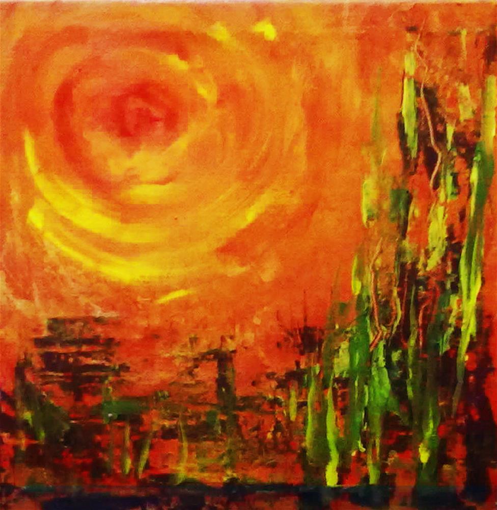 """Blazing Sun"" original fine art by Asha Shenoy S"