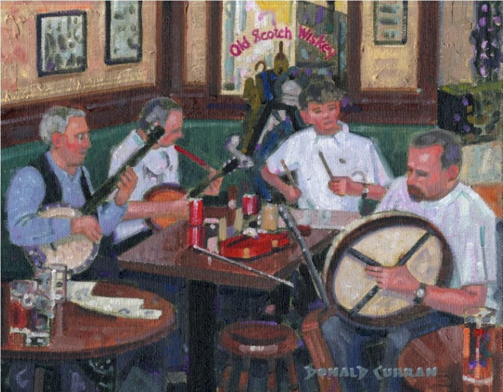 """Belfast Pub Music"" original fine art by Donald Curran"