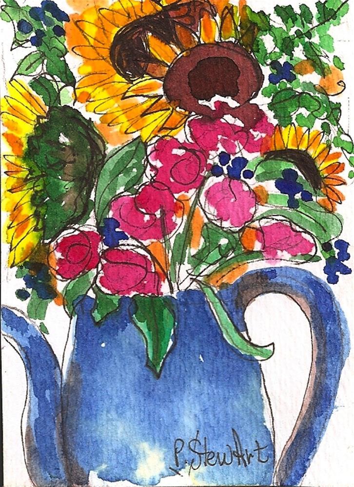 """""""ACEO Sunflower Bouquet Folk Art Blue Pitcher #1 WC & Pen Orig SFA by P StewArt"""" original fine art by Penny Lee StewArt"""