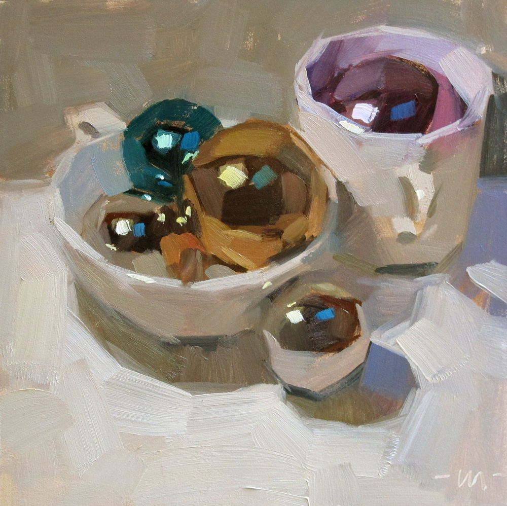 """Cups and Shiny Balls"" original fine art by Carol Marine"
