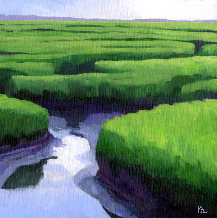 """""""low tide at the salt marshes"""" original fine art by Ria Hills"""