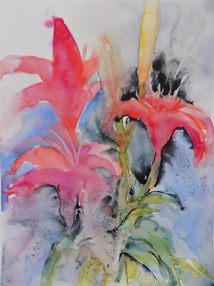 """Lilies"" original fine art by Joan Reive"