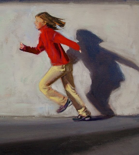 """Racing Time  Figurative oil painting, girl running"" original fine art by Robin Weiss"