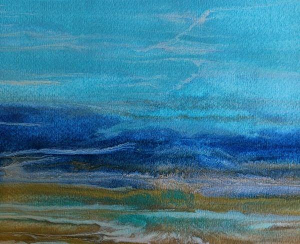 """Abstract Seascape,Coastal Living Decor,Beach Art Beautiful Storm -Study 4 by Colorado Contemporary"" original fine art by Kimberly Conrad"
