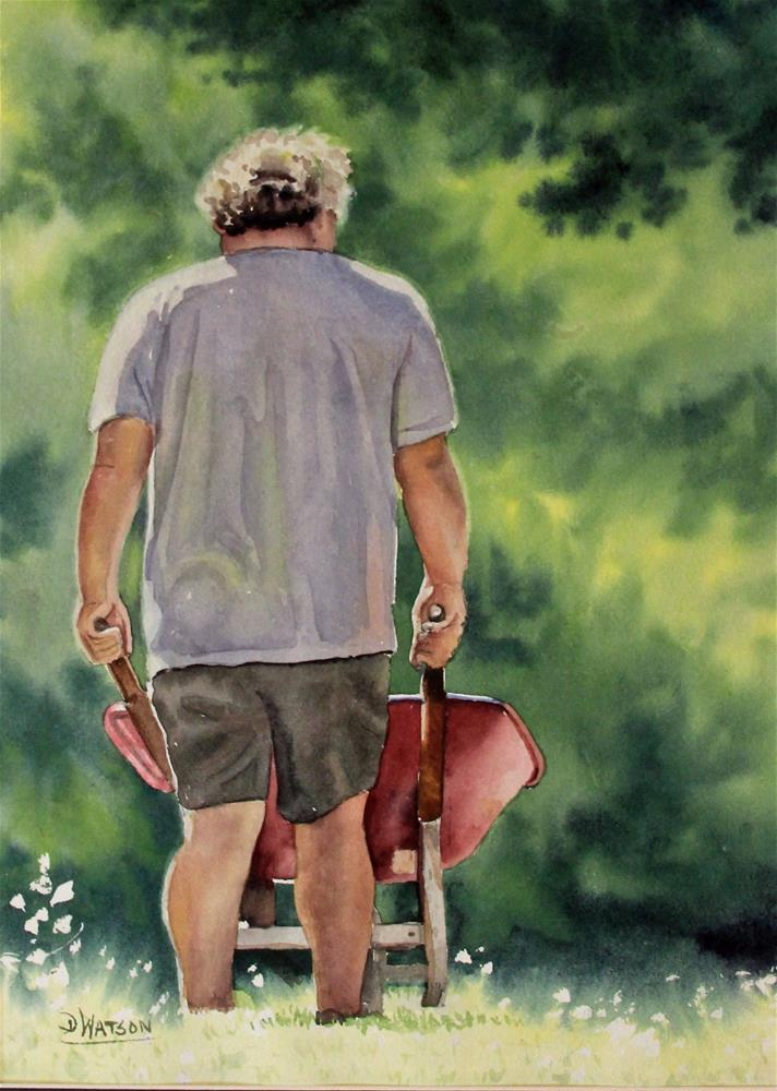 """Yard Work"" original fine art by Deb Watson"