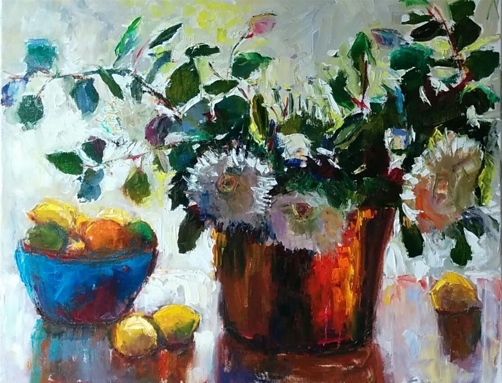 """March Flowers "" original fine art by pepa sand"