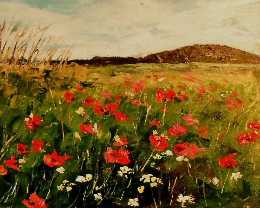 """8 x 10 inch oil Field of Poppies"" original fine art by Linda Yurgensen"