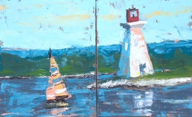 """Summer Lighthouse"" original fine art by Susan Elizabeth Jones"