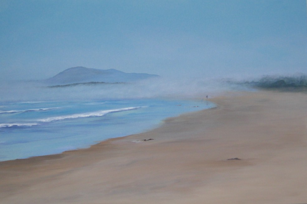 """1018 - Misty Walk on Long Beach - Premium"" original fine art by Sea Dean"