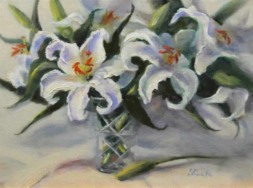 """White Lilies"" original fine art by Pat Fiorello"