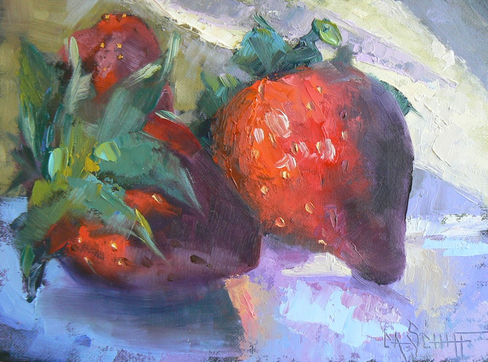 """Still Life, Original Oil Strawberry Painting, 6x8"" original fine art by Carol Schiff"