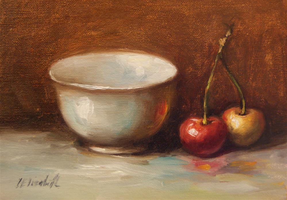 """Rainier Cherries with White Bowl, 5x7 oil on linen panel"" original fine art by Carolina Elizabeth"