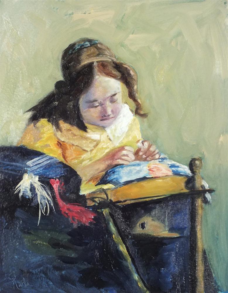 """The Lace Maker After Vermeer"" original fine art by Karla Uphoff"