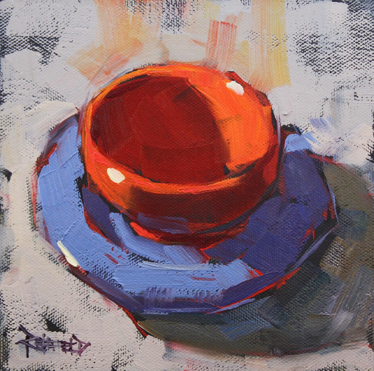 """Azul y Naranja"" original fine art by Cathleen Rehfeld"