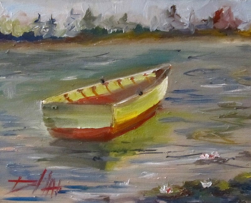 """Row Boat on Lily Pond"" original fine art by Delilah Smith"