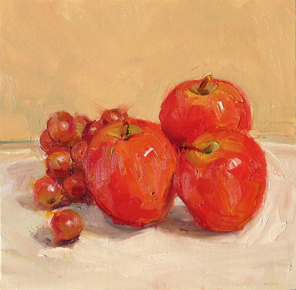 """Apples and Grapes,still life,oil on canvas,8x8,price$200"" original fine art by Joy Olney"