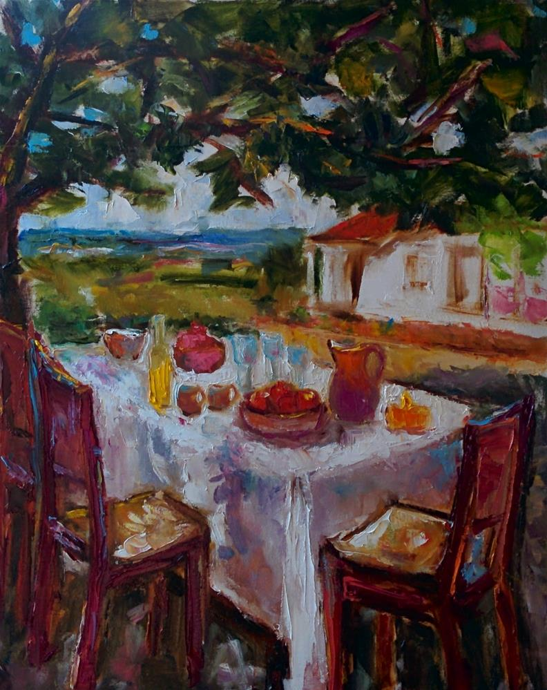 """Al Fresco Breakfast"" original fine art by pepa sand"
