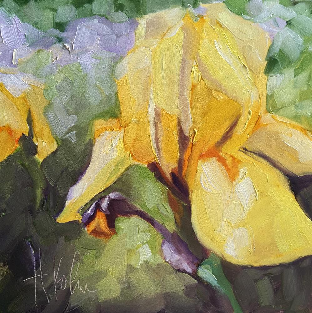"""Yellow Iris"" original fine art by Hallie Kohn"