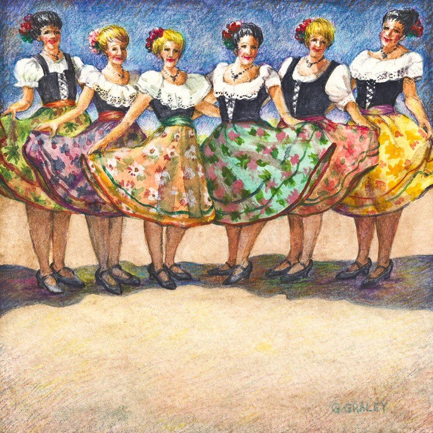 """Festival Dancers"" original fine art by Geri Graley"