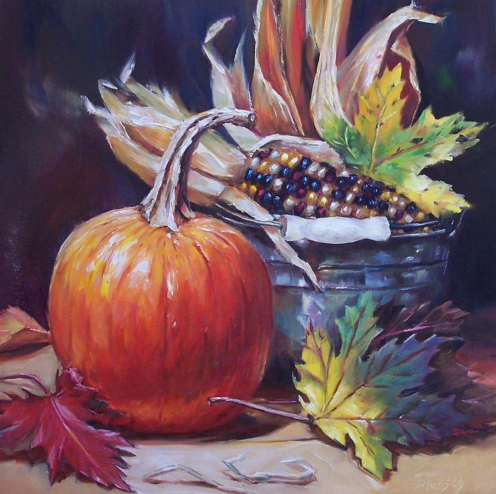 """Autumn Pumpkin"" original fine art by Donna Munsch"