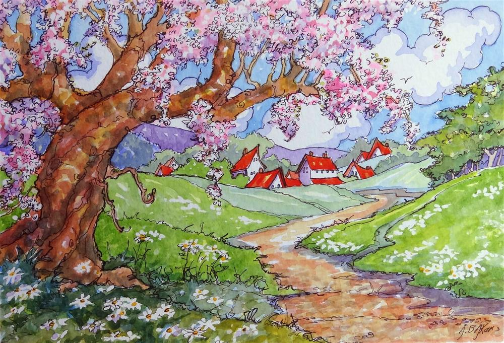 """Spring on Old Apple Tree Way Storybook Cottage Series"" original fine art by Alida Akers"